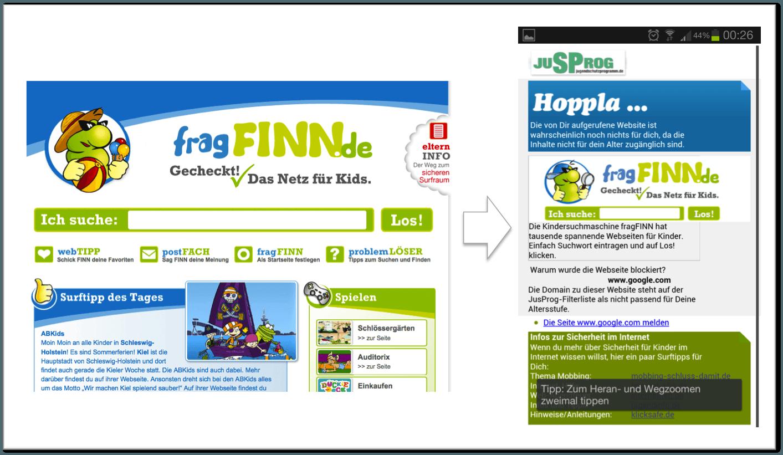 Nutzung FragFINN.de auf dem Mobiltelefon